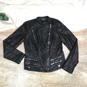 Gorgeous Faux Leather Multi Zipper Moto Jacket